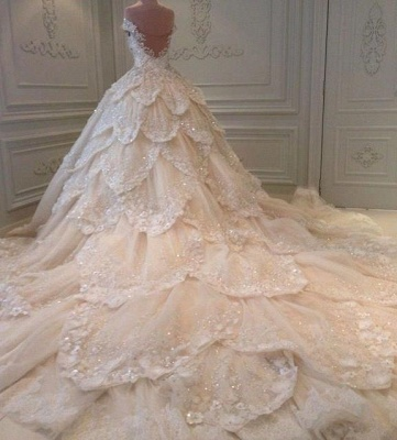 Luxurious Off-the-Shoulder Beads Wedding Dresses UK Ball Gown Long Train_3