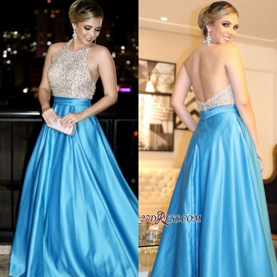 Blue backless prom Dress UK, long evening gowns with beads_2