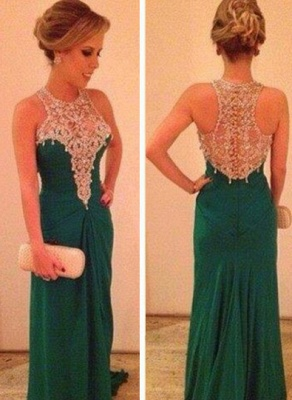 Long Chiffon High Neck Prom Dress UK Lace Appliques Sleeveless Evening Party Gowns_1