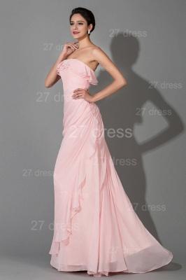 Modern Strapless Chiffon Evening Dress UK Zipper Sweep Train_2