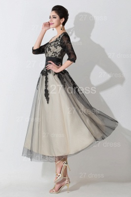 Newest Lace Appliques Tulle Evening Dress UK Half Sleeve_3