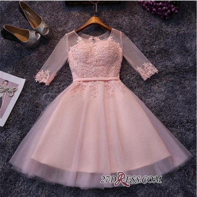 Appliques Short Half-Sleeves Tulle Pink Homecoming Dress UKes UK_3