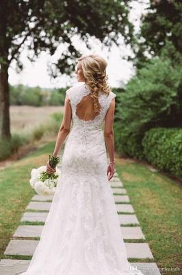 Elegant Lace Appliques Wedding Dress Button Zipper Back Straps BA4624_4