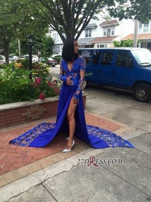 Royal-Blue Lace Deep-V-Neck Elegant Side-Slit Long-Sleeves Prom Dress UKes UK BK0 BA7902_2