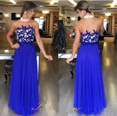 Tulle Royal-Blue Beading Luxury Halter High-Neck Long Prom Dress UKes UK_2