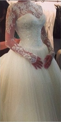 Elegant High Neck Long Sleeve Tulle Wedding Dress With Beadss Lace Appliques_1