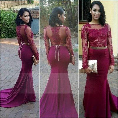Gorgeous Long Sleeve Lace Appliques Evening Dress UKes UK Long Zipper Back_3