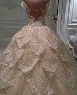 Luxurious Off-the-Shoulder Beads Wedding Dresses UK Ball Gown Long Train_4