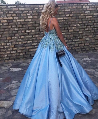 Baby Blue V-Neck Evening Dress UK Lace Appliques Crystals Long Prom Gowns_3