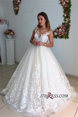 Appliques Court-Trian Backless A-Line Lace Floor-Length Wedding Dress CC0024_3