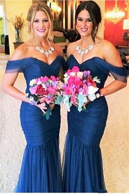 Elegant Off-shoulder Mermaid Bridesmaid Dress UK Floor-length With Tulle_1