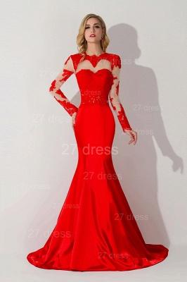 Elegant Red Mermaid Lace Appliques Evening Dress UK Long Sleeve_1