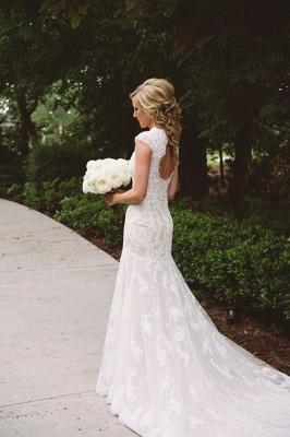 Elegant Lace Appliques Wedding Dress Button Zipper Back Straps BA4624_3