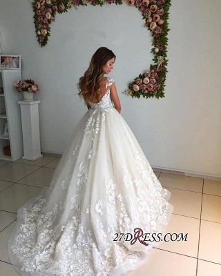 Appliques Court-Trian Backless A-Line Lace Floor-Length Wedding Dress CC0024_1