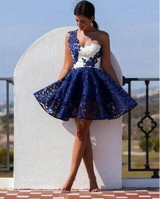 Cute One Shoulder Lace Homecoming Dress UK Short Prom Dress UK_1