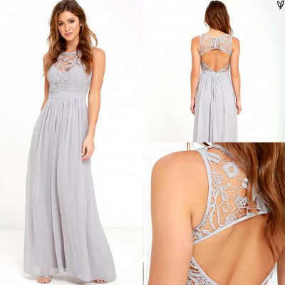 Sexy Long Chiffon Lace Prom Dress UK Floor Length_4