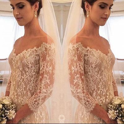 Elegant Off-the-shoulder 3/4 Length Sleeve Wedding Dress Lace Tulle_3