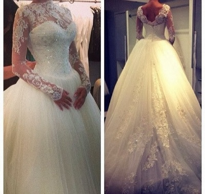 Elegant High Neck Long Sleeve Tulle Wedding Dress With Beadss Lace Appliques_3