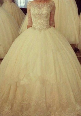 Delicate Half Sleeve Tulle Lace Wedding Dress Ball Gown BA6908_1