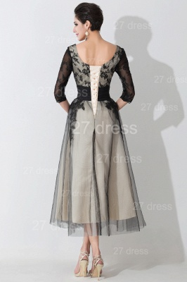 Newest Lace Appliques Tulle Evening Dress UK Half Sleeve_4