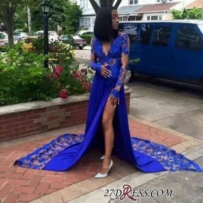 Royal-Blue Lace Deep-V-Neck Elegant Side-Slit Long-Sleeves Prom Dress UKes UK BK0 BA7902_1