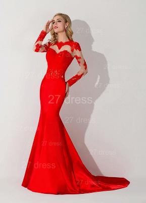 Elegant Red Mermaid Lace Appliques Evening Dress UK Long Sleeve_2