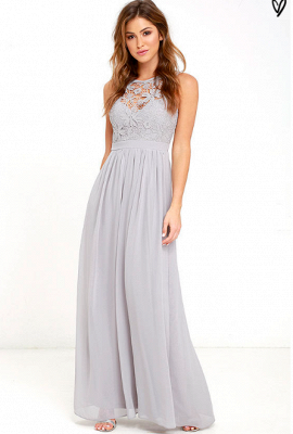 Sexy Long Chiffon Lace Prom Dress UK Floor Length_1