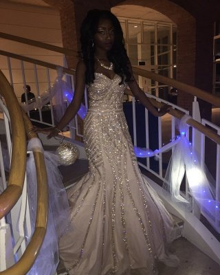 Sweetheart Prom Dress UK | Mermaid Sequins Long Evening Gowns_5