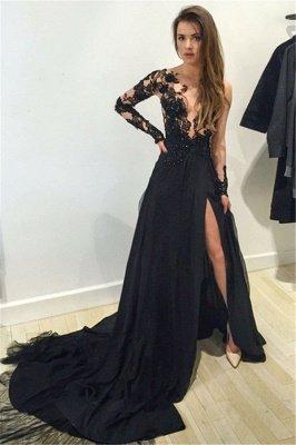 Elegant Black Lace Appliques Prom Dress UK Front Split Long Sleeve Sweep Train_1
