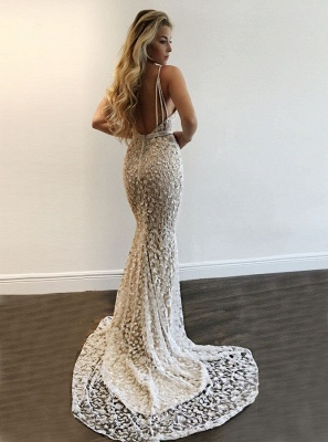 Luxury V-Neck Prom Dress UK   Lace Mermaid Evening Gowns BA9393_2