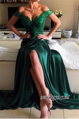 Appliques Sexy Dark-Green Off-the-shoulder Lace Open-Back Evening Dress UK jj0089_5