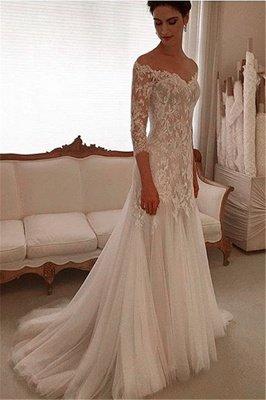 Elegant Off-the-shoulder 3/4 Length Sleeve Wedding Dress Lace Tulle_2