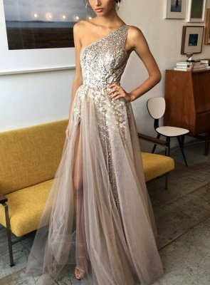 Sexy One Shoulder Tulle Prom Dress UK Sequins With Split BA7859_1