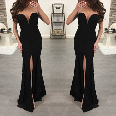 Elegant Black Sweetheart Evening Dress UK | 2019 Mermaid Prom Dress UK With Slit_3