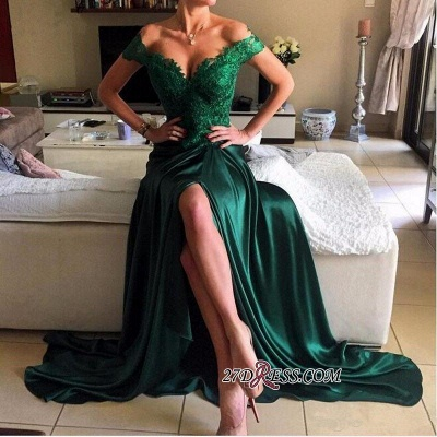 Appliques Sexy Dark-Green Off-the-shoulder Lace Open-Back Evening Dress UK jj0089_1