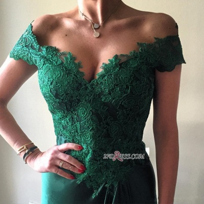 Appliques Sexy Dark-Green Off-the-shoulder Lace Open-Back Evening Dress UK jj0089_4