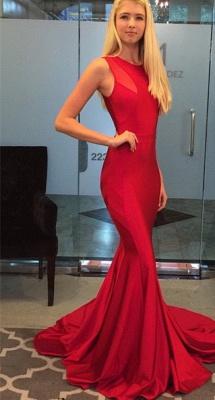 Elegant Halter Mermaid Red Prom Dress UK Sleeveless Floor-length_3