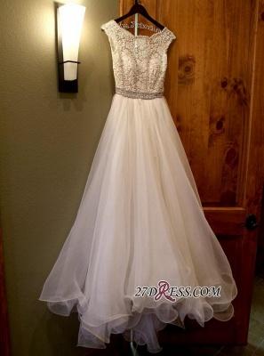 Lace Beads Zipper Delicate Cap-Sleeve Jewel A-line Wedding Dress_4