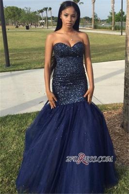 Beading Blue Shiny Sleeveless Strapless Popular Tulle Sequins Navy Prom Dress UK BK0_3