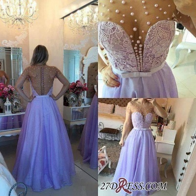 Long Puffy Short-Sleeves Romantic Sheer Lavender Pearls Prom Dress UKes UK BA4789_2