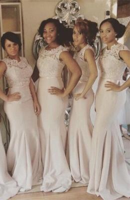 Newest Lace Mermaid Illusion Bridesmaid Dress UK Cap Sleeve_2