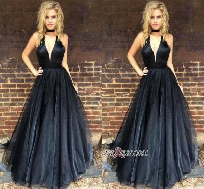 Sleeveless Black Newest A-line Floor-length V-neck Prom Dress UK BA6656_3