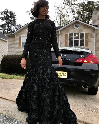 Black Long Sleeve Prom Dress UK   Backless Evening Dress UK With Flowers Bottom_3