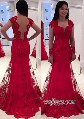 Lace A-line Sweep-Train Modern Long-Sleeve Red Prom Dress UK BA4006_2
