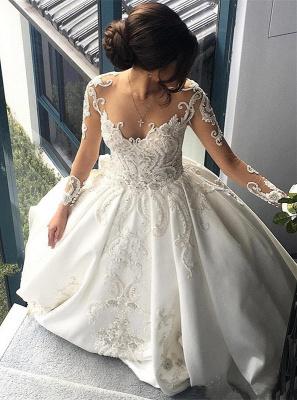 Gorgeous Long Sleeve Lace Buttons Wedding Dress Zipper Button Back_1