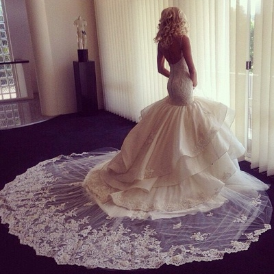 Fairy Open Back Lace Sexy Mermaid Wedding Dress With Ruffles_1