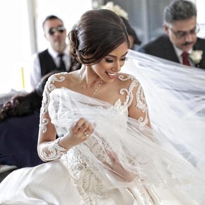 Gorgeous Long Sleeve Lace Buttons Wedding Dress Zipper Button Back_4