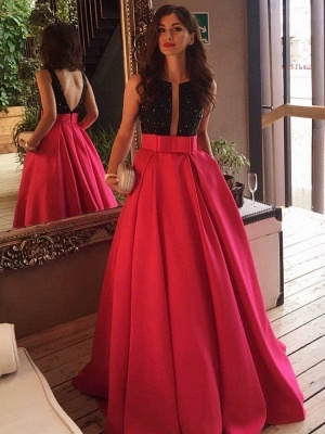 Sleeveless Neckline Scoop Black-red Prom Dress UK_3