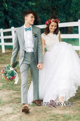 Lace Beads Zipper Delicate Cap-Sleeve Jewel A-line Wedding Dress_5