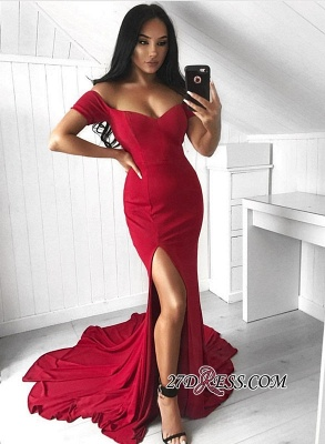 Red Off-the-Shoulder Prom Dress UK   Evening Gowns With Split_2
